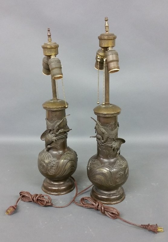 Pair of Japanese bronze urns converted to table lamps.