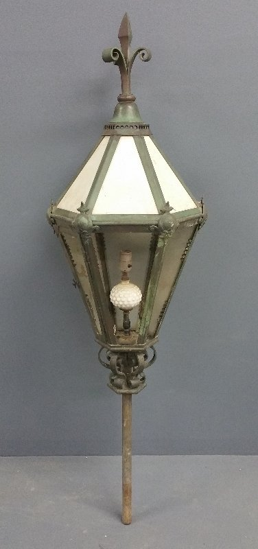 """Large French outdoor lamp, circa 1920. 57"""" h x 17"""" w"""