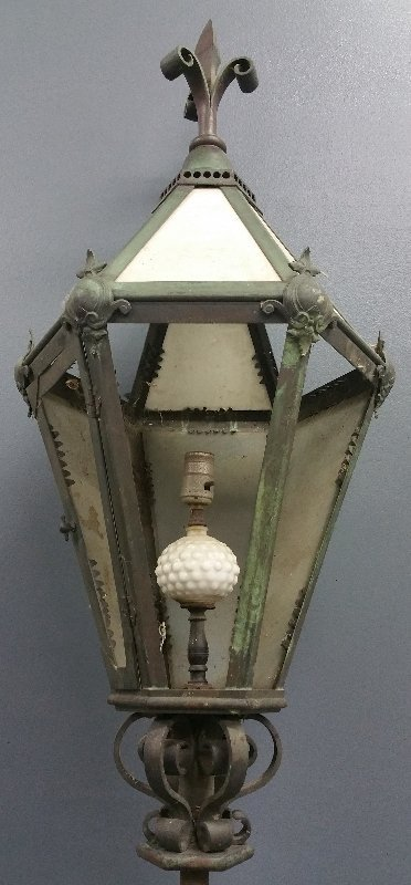 """Large French outdoor lamp, circa 1920. 57"""" h x 17"""" w - 2"""