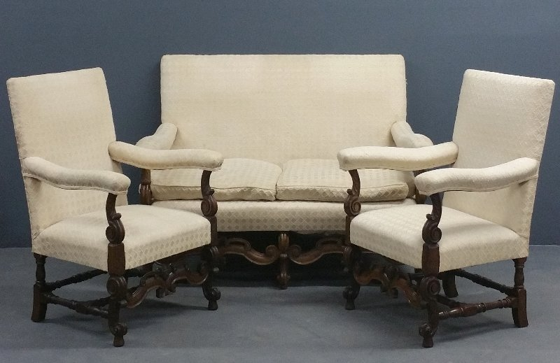 Set of three American Louis XIV style carved walnut