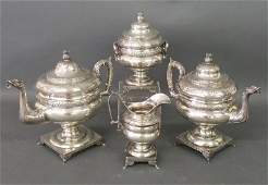 American silver four-piece tea service, each having