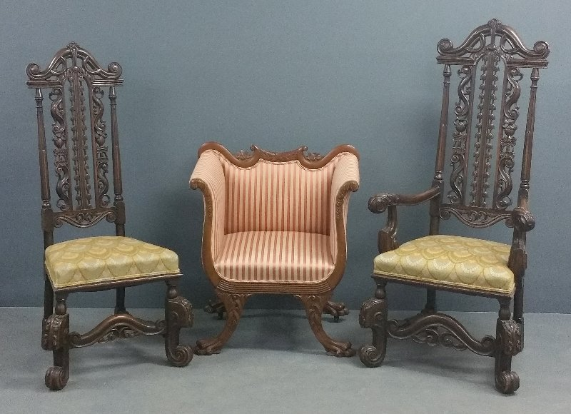 Pair of Jacobean style walnut chairs, together with a