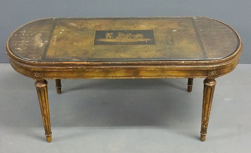"""French style coffee table with painted top. 17"""" h x 39"""
