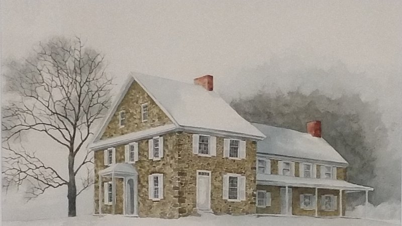 Framed and matted watercolor of Washington headquarters