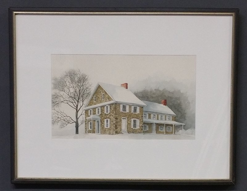 Framed and matted watercolor of Washington headquarters - 2