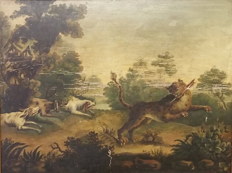 Continental oil on panel of an animal hunt, probably