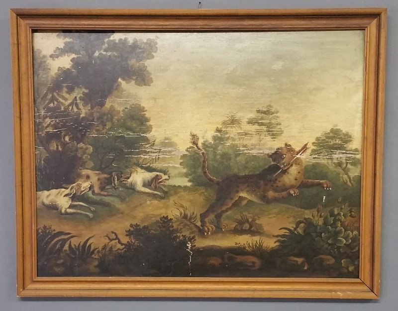 Continental oil on panel of an animal hunt, probably - 2