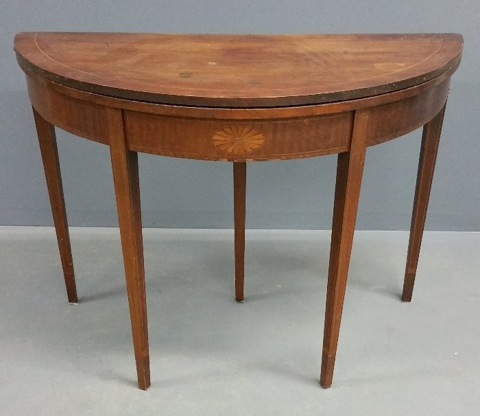 "Federal style mahogany demi-lune table. 29 ½"" h x 41"""