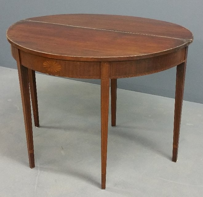 "Federal style mahogany demi-lune table. 29 ½"" h x 41"" - 2"