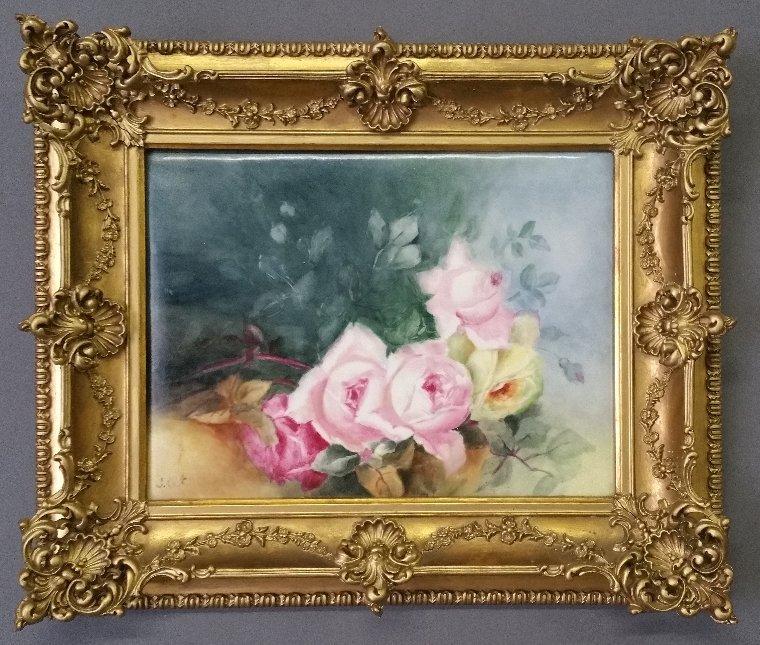 Limoges framed still life of roses signed lower left