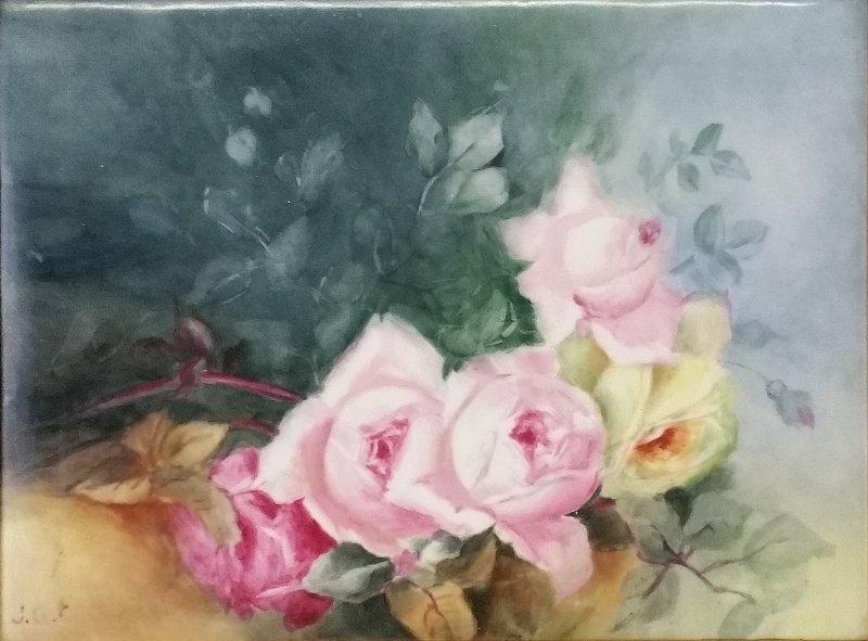 Limoges framed still life of roses signed lower left - 2