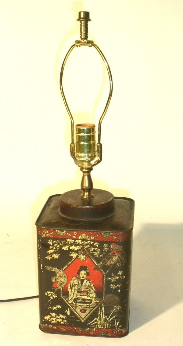 """25: Tole decorated table lamp. 9""""h."""