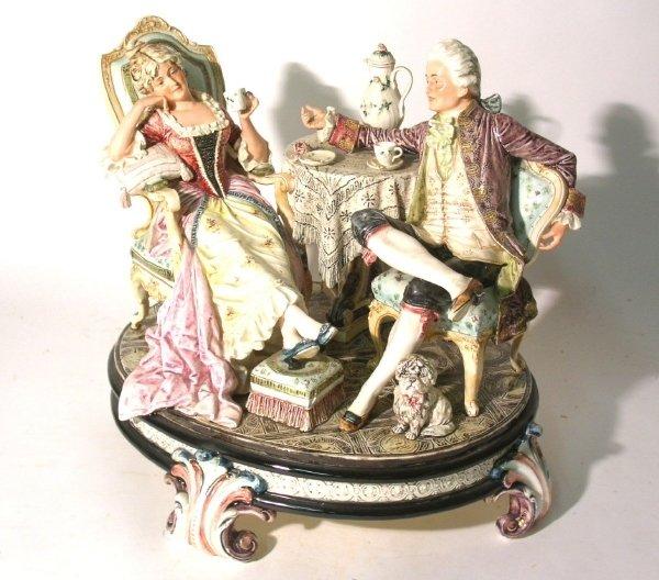 "28: Continental porcelain figural group, 19th c. 13.5""h"