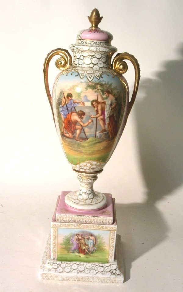 30: Continental porcelain vase on stand, 19th c., with