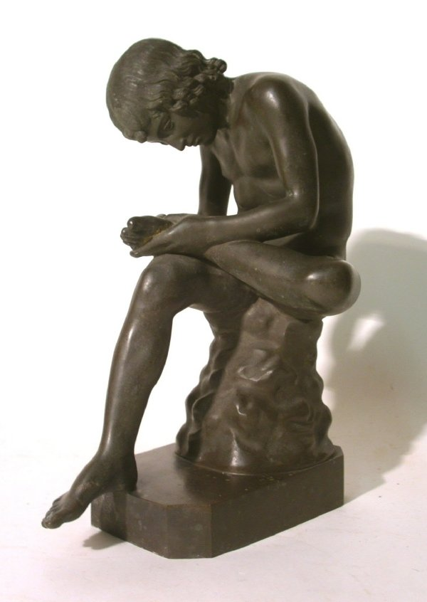"""31: Early bronze copy of a boy, """"thorn in foot"""". 11.75"""""""