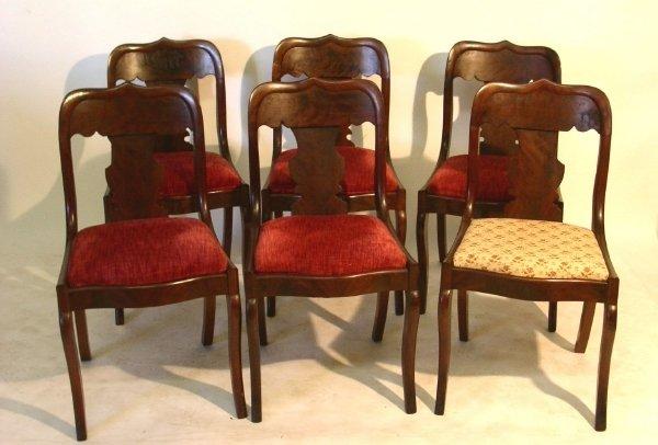 """35: Set of six Empire mahogany saber leg chairs. 31.75"""""""