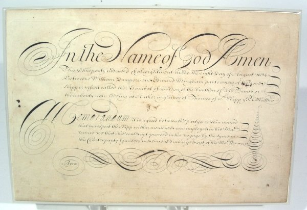 41: Calligraphy penmanship exercise sample dated 1694.