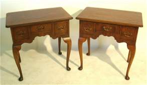 42: Pair of Queen Anne style lowboys, English yew wood.