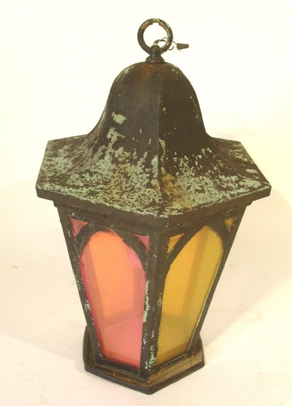 43: Copper hanging lantern, early 20th c., with pagoda