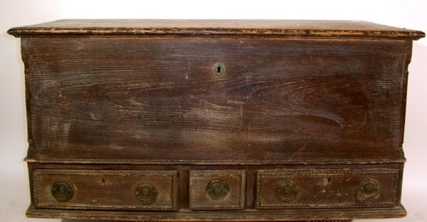 """154: Chippendale pine blanket chest, c.1780. 30""""h.x22.7"""