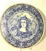 349: Italian Majolica round wall plaque, c.1900.