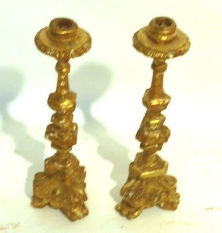 """34: Pair of 18th c. candlesticks, carved gilt. 12.5""""h."""