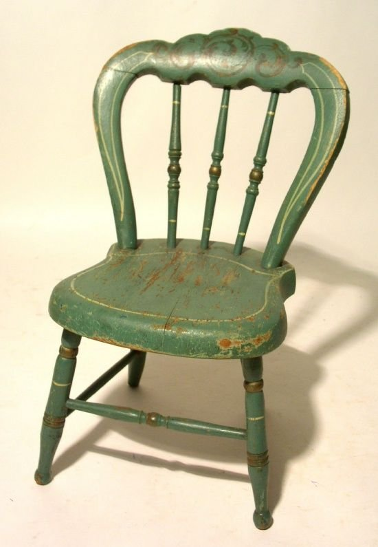 22: Miniature Victorian side chair, c.1870, in old gree