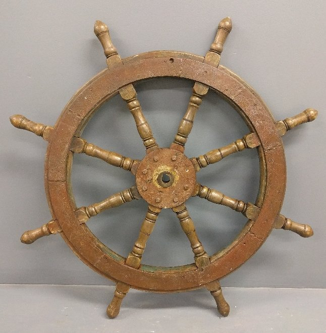 Oak ships wheel, 19th c., with iron brace. 39 inch