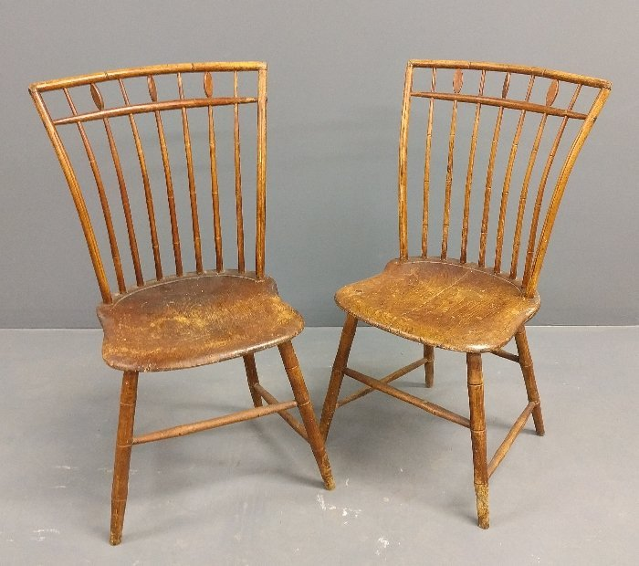 Pair of birdcage Windsor side chairs. 36 inches high,
