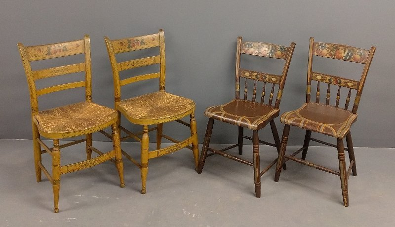 Pair of paint decorated rush seat fancy side chairs. 34