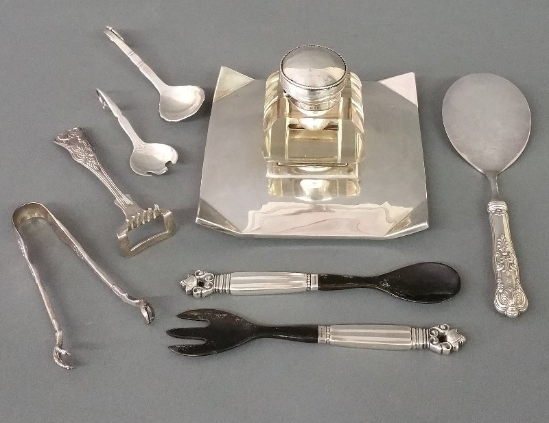 Sterling silver including Georg Jensen handled fork and