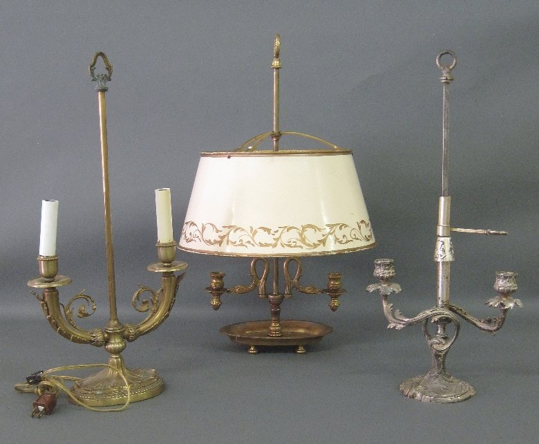 Three metal boulette style lamps, as found.  Tallest
