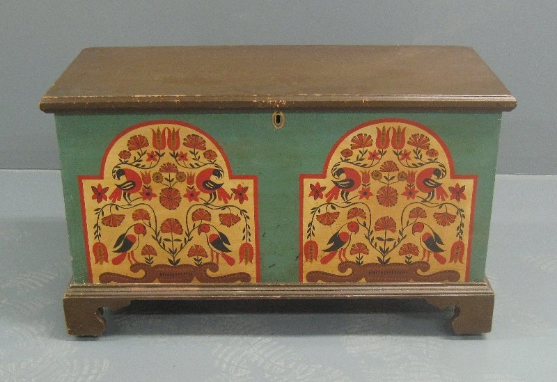 David Ellinger paint decorated signed blanket chest