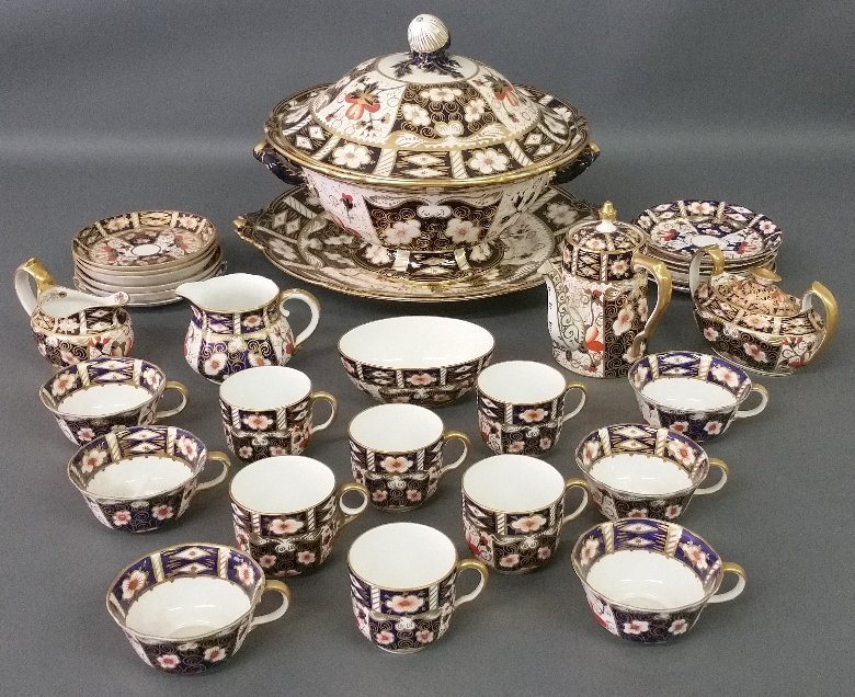 Assembled set of Royal Crown Derby soup tureen and