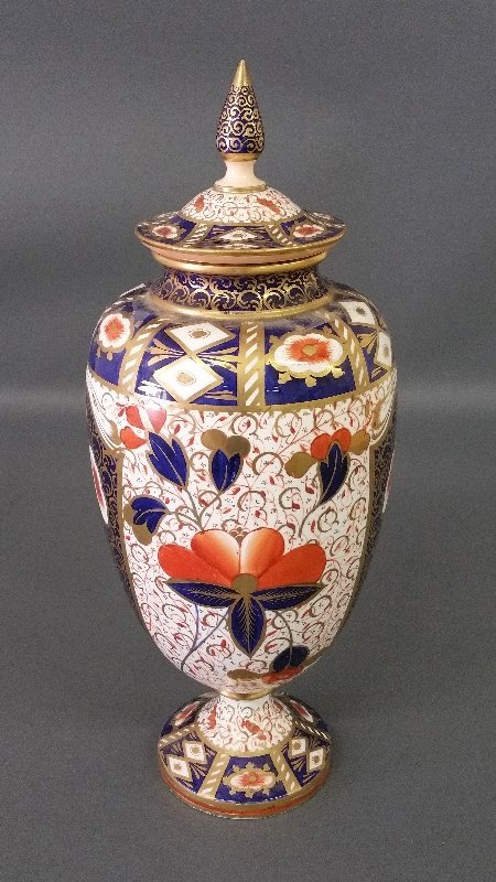 Royal Crown Derby covered urn, drilled for electricity.
