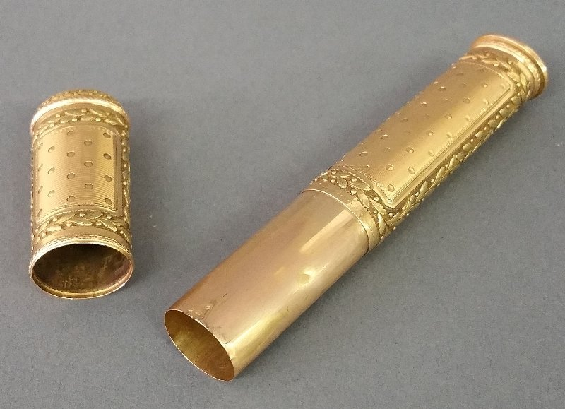 Gold wax holder and seal, probably Swiss. Early 19th - 2