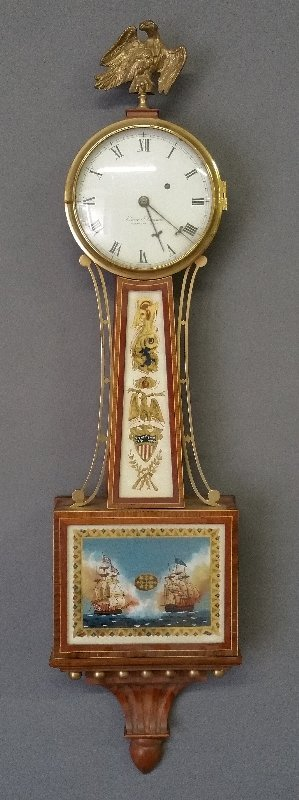 E.O. (Elmer) Stennes mahogany Presentation banjo clock,