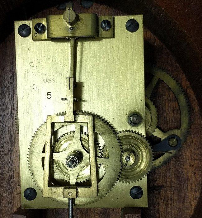 E.O. (Elmer) Stennes mahogany Presentation banjo clock, - 8