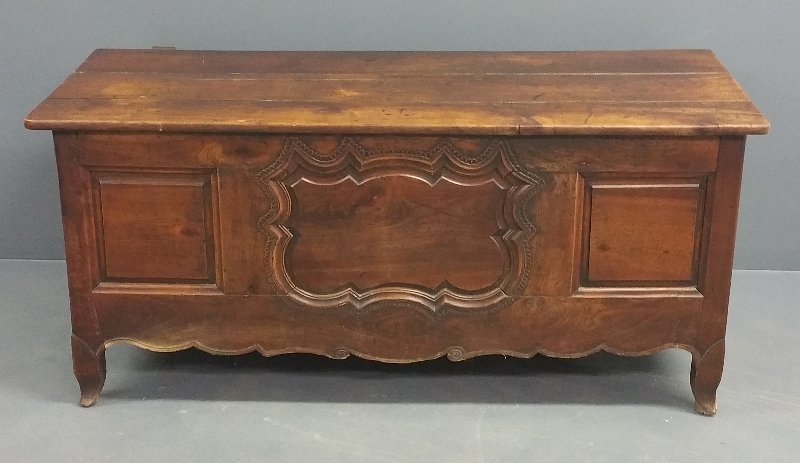 Large French walnut blanket chest, circa 1780, with