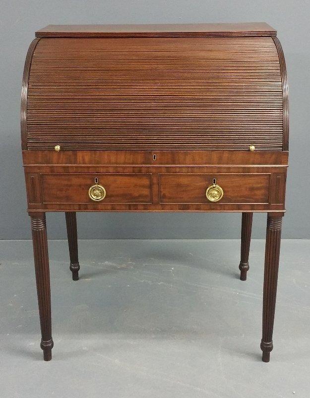 Philadelphia Sheraton mahogany tambour roll top desk,