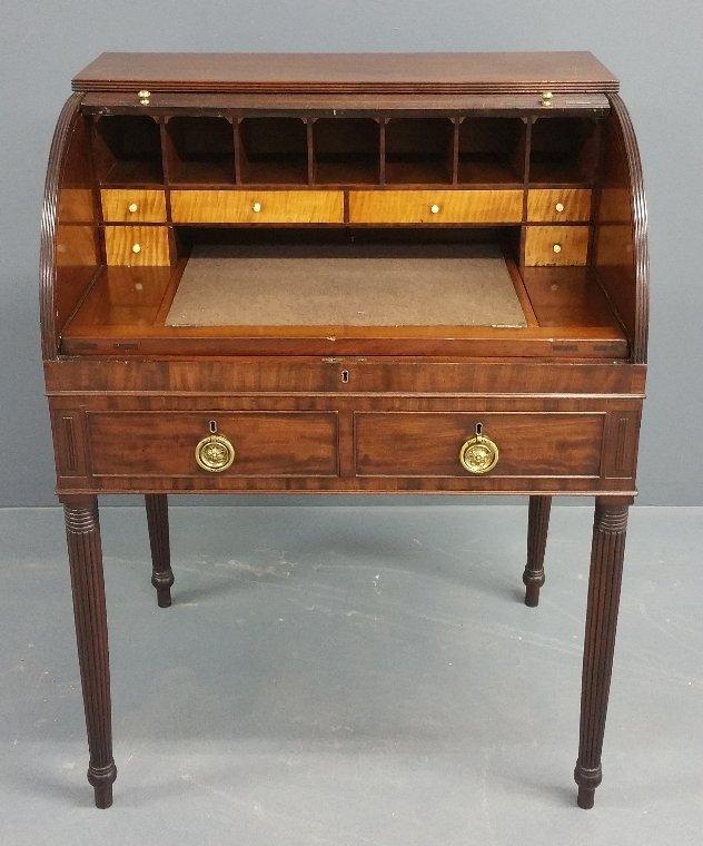 Philadelphia Sheraton mahogany tambour roll top desk, - 2