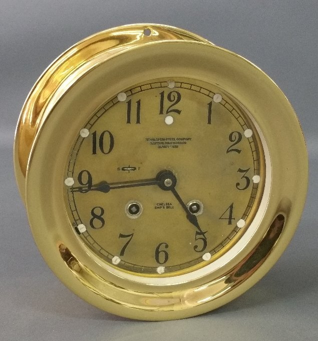 "Brass cased ship's bell clock by Chelsea, ""Bethlehem"