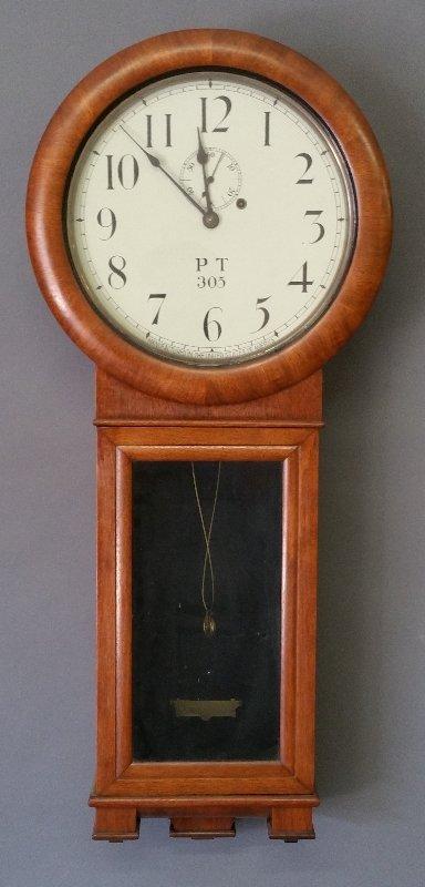 Seth Thomas #2 railroad mahogany cased wall clock, with