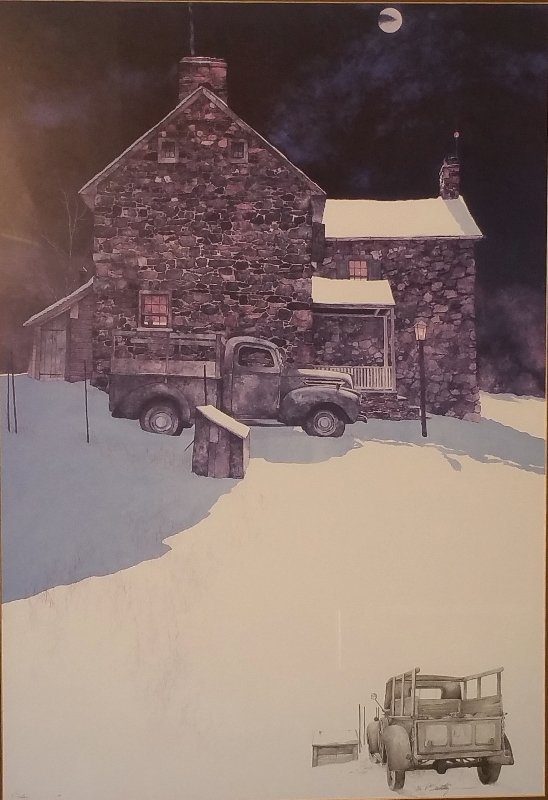 Peter Sculthorpe framed and matted painting of a truck