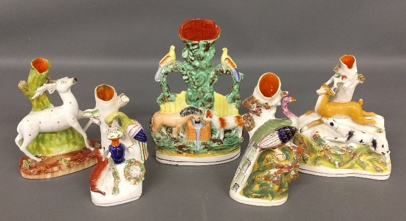 Five Staffordshire spill vases, late 19th c. Tallest: