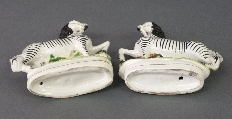Pair of Staffordshire prancing zebras, c. 1870. 9 - 2