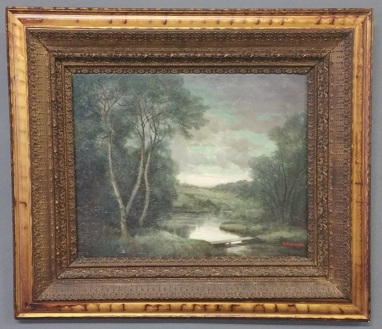 Oil on canvas painting of a summer landscape with a