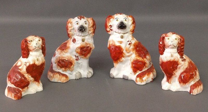 Grouping of four Staffordshire spaniels. Tallest 7 ¾