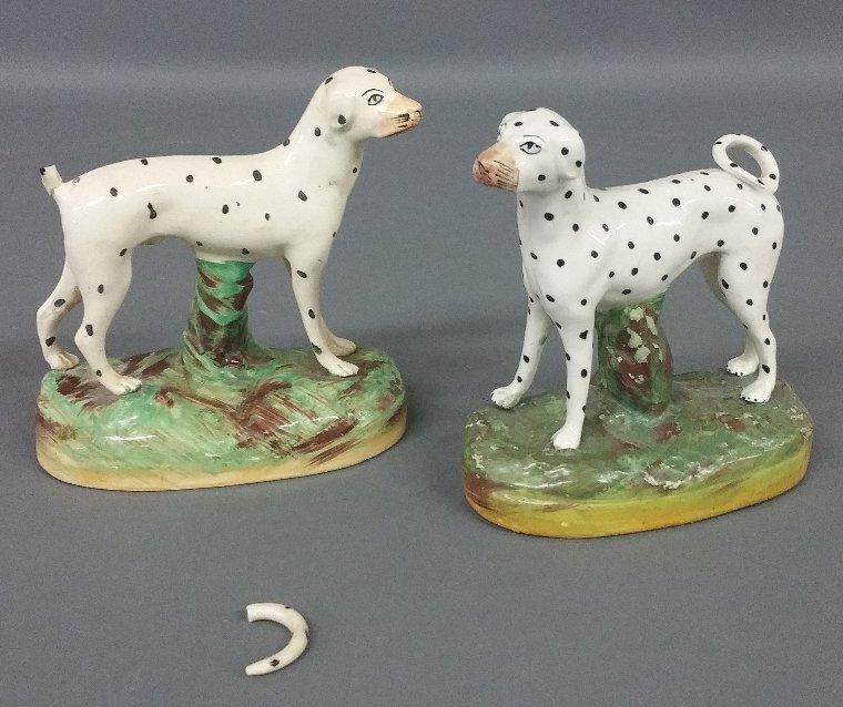 Two similar Staffordshire Dalmatians, c. 1870, Kent