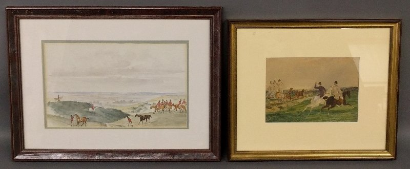 Two English framed and matted equine watercolors.